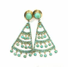 Vintage antique Solid 18K Gold jewelry Turquoise Gemstones earring pair india