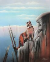 Mountain Lion on Cliff (D. Poja Oil Painting)