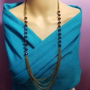 Necklace Purple glass beads gold Silver Tone