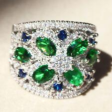Fashion Green Sapphire Birthstone 925 Silver Filled Wedding Bridal Ring Size 7