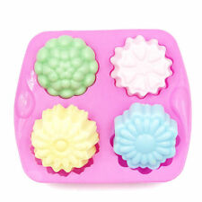4 Cavity Flower Silicone Mold DIY Soap Fondant Chocolate Mould Mousse Tray