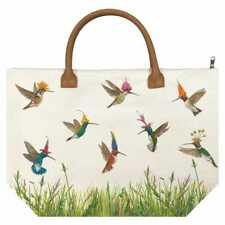 New PPD Vicki Sawyer Canvas Tote Bag MEADOW BUZZ Hummingbirds Gift Large White