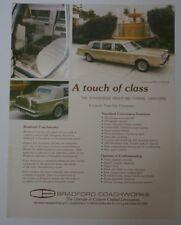 USA Bradford Coachworks Lincoln Town Car 8 Passenger Limo Limousine Brochure