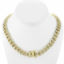 "Men's Curb Cuban Miami Link 28"" Chain 14k Gold Plated 12mm 20ct Lab Diamonds"