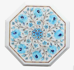 Turquoise Stone Floral Art Bedside Table White Marble Coffee Table Top 13 Inches