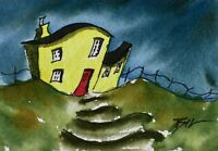 ACEO ATC original art miniature painting ' Wobbly House ' by Bill Lupton