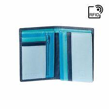 DuDu Portafoglio uomo Verticale RFID in Pelle Blu Multicolore con lampo interna