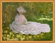 Springtime Claude Monet Frühling Blumen Wiese Frau weißes Kleid Lesen B A1 01231