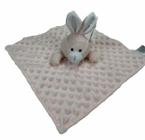 "NEW Elegant Baby Pink Bunny 12"" Baby Blanket Minky Dot Satin Security Lovey"