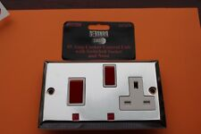 Sector 2G Die Cast Polished Chrome/white 45A DP cooker control +13A socket neons