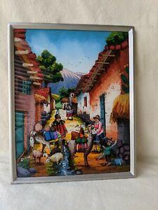 Vintage Peru Folk Art Reverse Painting on Glass Peruvian Andes Life Landscape