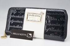 NEW HELLO KITTY Bi-Fold Round Zipper Wallet Black White Free Ship _JP 608e11