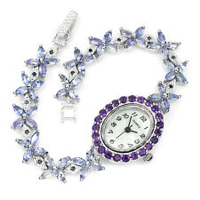 Sterling Silver 925 Genuine Natural Tanzanite, Sapphire & Amethyst Watch 7.5 In