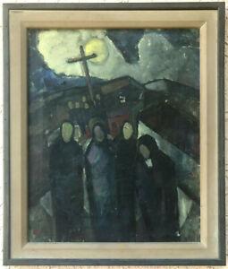 WPA ARTIST Oil Painting ~ SURREAL LANDSCAPE ~ 1940s Elliot Orr EARLY MODERNIST