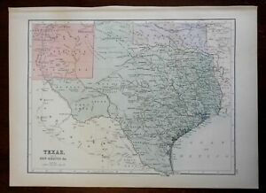 Texas state by itself 1876 uncommon A. & C. Black U.K. map