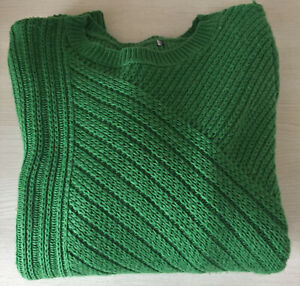 Ladies Ex M&S Size 6 or 8 Emerald Blouson Sleeve Jumper with Wool New rrp £29.50