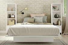 Kids Twin 3 Pc White Platform Bedroom Set w/ Bookcases Bed and 2 Book Shelves