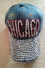 Denim*Cap*Baseball*Rhinestones*Chicago*New*One Size*Jean*Embellished*Stones*