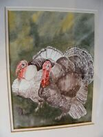 VINTAGE WATERCOLOUR PAINTING  OF TURKEYS BIRDS SIGNED E RATCLIFFE FRAMED