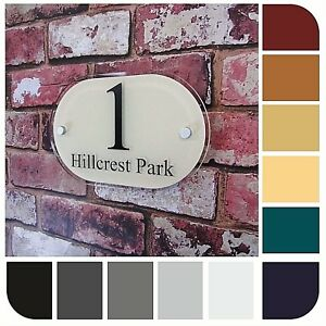 HOUSE NUMBER SIGNS ADDRESS PLAQUES DOOR NUMBER PLATES PERSONALISED GLASS EFFECT
