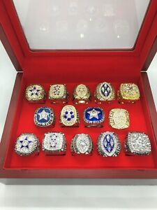 14 Pcs Dallas Cowboys Super Bowl Championship Ring Set with Wooden Display Box