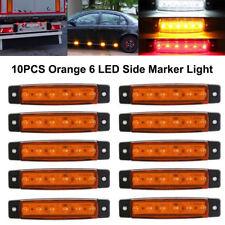 10Pcs Orange 12V 6LED Side Marker Indicators Light Truck Trailer Boat Clearance