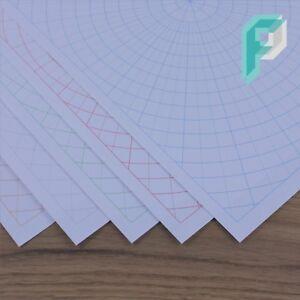 A4 Polar Circular Graph Paper 10mm 1cm, 5 degree Increments, 5 to 100 Sheets