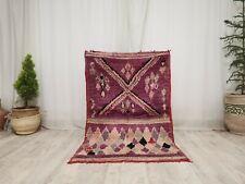 """Vintage Moroccan Boujaad Handmade Rug 3'3""""x5'2 Berber Geometric Purple  wool Rug"""
