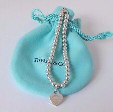 Tiffany & Co Silver Return To Tiffany Heart Charm 4mm Bead Ball Bracelet