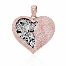 14k Rose Gold Open Heart Clock Charm, Charm America Jewelry