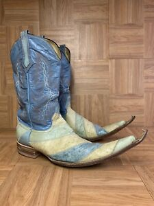 RARE🔥 Handmade Mexican Pointy Boots Botas Picudas Blue Eel Patent Leather 7.5