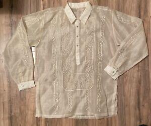 Traditional Men's Barong Tagalog Embroidered Silk? Formal Wedding Shirt