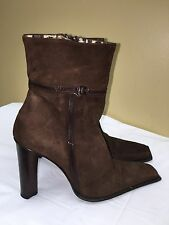 Vero Cuoio Brown color Leather Ankle Womens Boots -zipper-size 37 Pre-owned