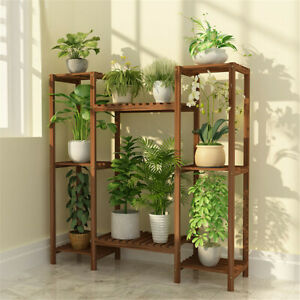 Multi-Tier Stylish Bamboo Plant Stand Indoor&Outdoor 10 Pot Bonsai Display Shelf
