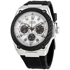 Guess Legacy Quartz White Dial Black Rubber Men's Watch W1049G3
