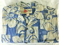 New Hilo Hattie Hawaiian Shirt Size Medium Blue Floral Aloha Mens NWT