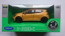 WELLY RENAULT CLIO 4 MK4 RS YELLOW 1:34 DIE CAST METAL MODEL NEW IN BOX