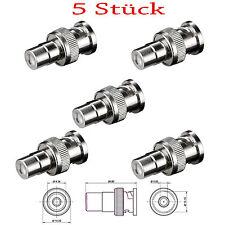 5 x BNC Stecker auf Cinch Adapter, RCA ,Buchse / Kupplung Chinch ,Stück Set (209