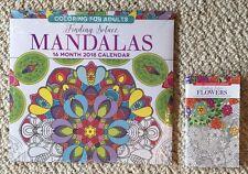 Lot of 2 Brand New Mandala Flowers Adult Coloring 16 Month 2018 Calendar Planner