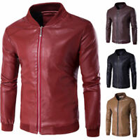 Mens Leather Motorcycle Jacket Stand Collar Coat Casual Slim Fit Outwear Tops W8