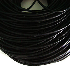 Black Genuine Leather Jewelry Cord 3mm x 5 yards