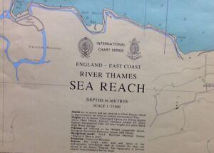 ADMIRALTY SEA CHART. RIVER THAMES, SEA REACH.No. 1185. ENGLAND E. COAST. 1973