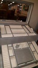 pottery barn Mckenna Armoire Gray Leather jewelry box,X Large KEY lock, designer