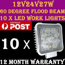 10 x LED Work Lights flood beam 12V/24V/27W/6500K/60 Degree 1yr warranty WS27