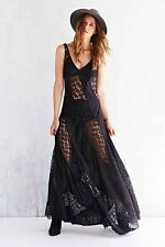 102552 New Kimchi Blue Urban Outfitters Sheer Lace Stripe Black Maxi Dress XS US