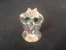Swarovski Cristal Mini Hibou figurine avec yeux verts (ref G299)