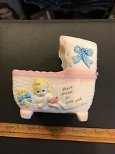 Antique Vintage 1950's Baby Crib Music Box Indoor Planter Rubens Originals Japan
