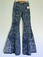 Free People Floaty dot High Waisted Flared Bell Bottom Jeans Flare Jeans 26