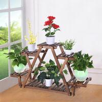 Multi Tier Wood Flower Rack Plant Stand Wood Shelves Bonsai Display Shelf USA