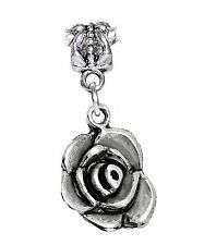 Blooming Rose Flower Bloom Garden Bouquet Dangle Charm for European Bracelets